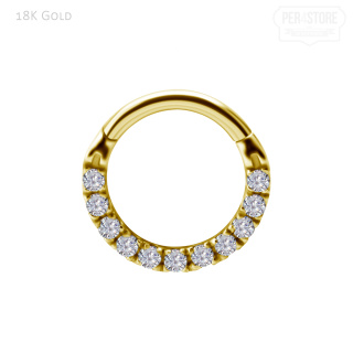18K Gold Hinged Ring w Lab Diamonds