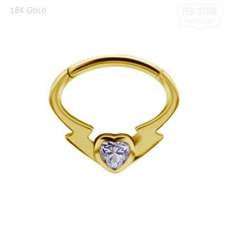 18K Gold Clicker w Premium Zirkonia
