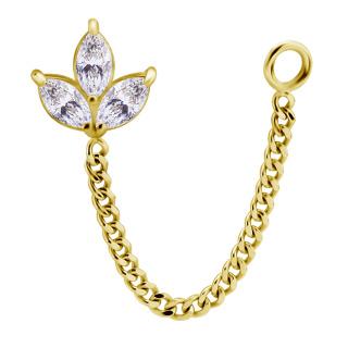18K Gold Push In Fleur w Premium Zirconia