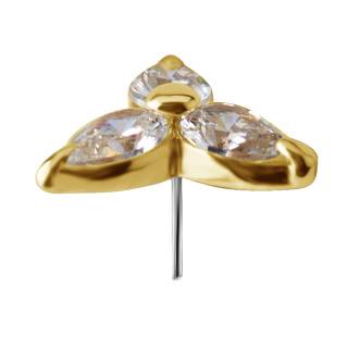 18k Gold Push In Triskal w Premium Zirconia