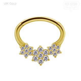 18K Gold Clicker w 3 Flowers