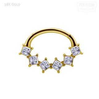 18K Gold Clicker w 6 Prem Zirconia