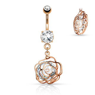 Large CZ Incased Camellia Flower Dangle 316L  1.6 x 10 mm