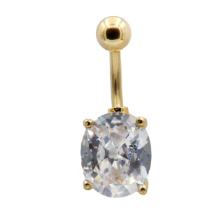 Solitaire Oval CZ Prong Set Banana