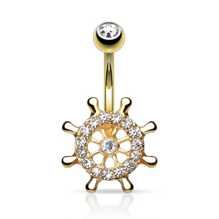 Yacht Wheel with CZs 14kt Gold Plated